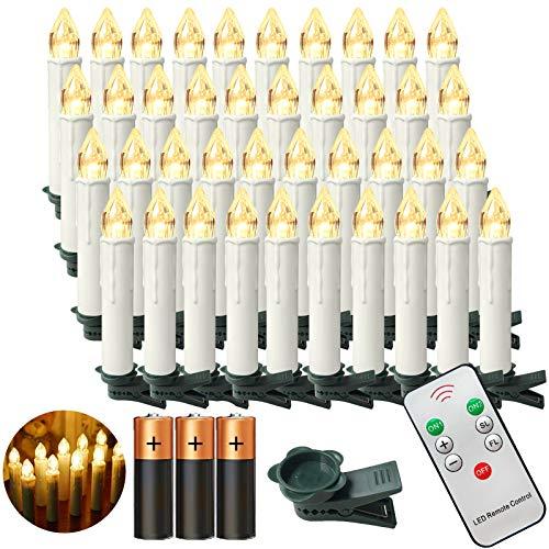Aufun LED Weihnachtskerzen mit Fernbedienung 40 Stück Kabellos Kerzen mit Batterien Outdoor Weinachten für Weihnachtsbaum, Weihnachtsdeko, Hochzeitsdeko, Party, Feiertag, Warmweiß