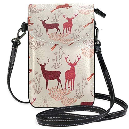 Monedero para teléfono celular, diseño vintage de ciervos de Navidad, pequeño bolso para teléfono celular, monedero para mujeres y niñas