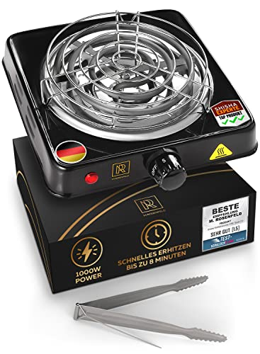 M. ROSENFELD Shisha Set - Elektrischer Kohleanzünder für Shisha Kohle BLACKHEAT 1000W + Set (Schwarz Glanz)