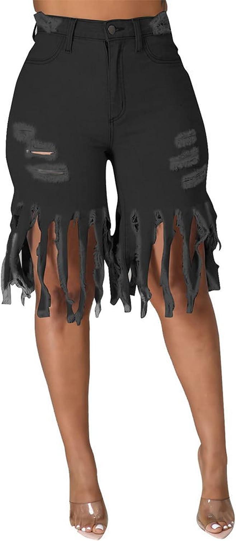 MdouLy Womens Denim Shorts High Waist Ripped Hole Frayed Raw Hem Tassels Stretchy Bermuda Jeans