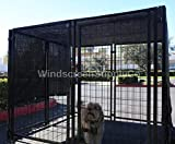 WindscreenSupplyCo Heavy Duty Dog Kennel Shade Top and Side Coverage, Sunblock Shade Knitted Mesh Tarp - 85% UV Protection (Not The Kennel) (8' X 10', Black)
