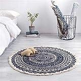 DALUXE Marokko Runde Teppichboden Schlafzimmer Boho Art-Troddel-Baumwolle Teppich Hand gesponnene...