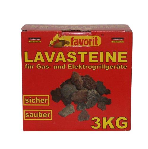 Favorit 3050 Lavasteine für Gas-/Elektrogrill 3 kg; Praktischer Nachfüllpack 3kg für Lavasteingrill; hochwertige Lavasteine für das perfekte Grillergebnis und den besten Grillgenuss