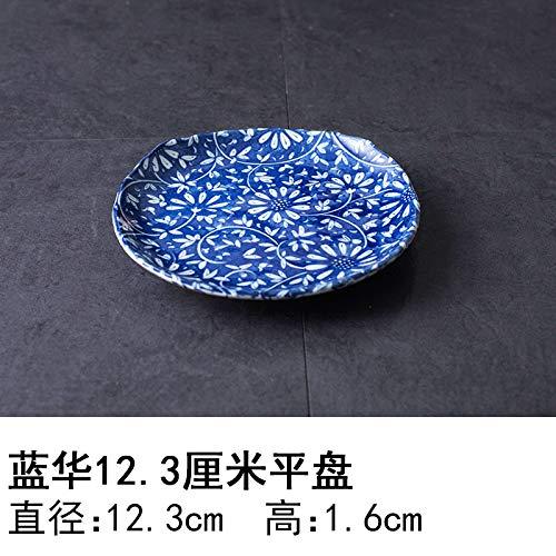 YUWANW Japon Plaque en Céramique Importés De Vaisselle en Porcelaine Importations Japonaises De Plat Dessert Saladier Plat Bol, Bleu Hua 12,3 Cm Plaque Plane
