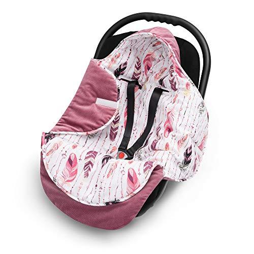 EliMeli EINSCHLAGDECKE für Babyschale - Baby Decke für Autositz und Kinderwagen mit Füllung, universal Fußsäcke z.B. Maxi Cosi, Kinderwagendecke neue Velvet Kollektion (Rosa/Federn)