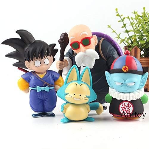 Yvonnezhang Estatuilla Dragon Ball Son Goku Gohan Uranai Baba Maestro Roshi Puar Pilaf Chiaotzu PVC Figura de Acción de Colección Modelo de Juguete 4 unids / Set, A