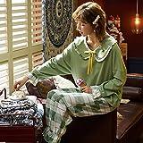 Pijama para Mujer - Cartoon Printed Summer Pjs Sleepwear Suit Turn-Down Mangas Largas Tops Pantalones 2 Piezas Set Cómodo Casual Sleep Lounge Nightwear para Adultos Señoras Jogging Homewear Outfits