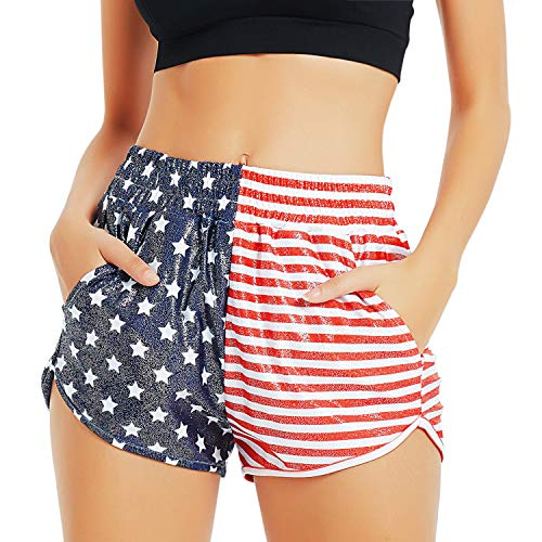 Women 4th July Spandex Shorts Patriotic USA Flag Hot Pants Metallic Outfits
