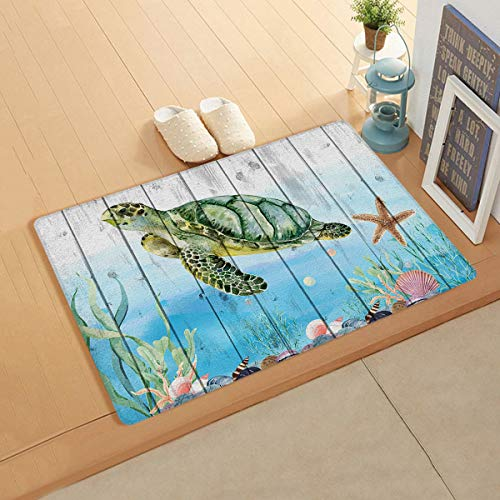 Gsypo Cushioned Anti Fatigue Kitchen Mat, Sea Turtle Ocean Marine Life Wooden Lightweight Cozy Faux Leather Doormat All-Season Floor Mat Standing Mats- 24' x 36'