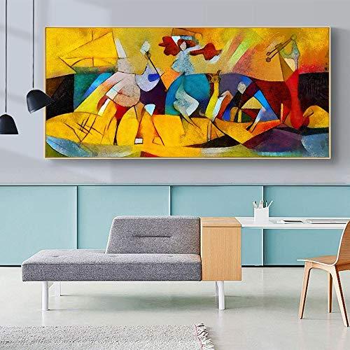 wZUN Cuadro Mural Abstracto para Sala de Estar decoración del hogar Moderno Picasso HD Obras de Arte Lienzo Famoso Pintura al óleo impresión 50x100cm