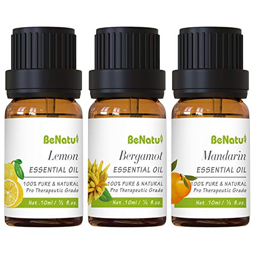 Citrus Essential Oils Set (Lemon, Bergamot, Mandarin) for Diifuser, Skin Care, Soap Making - Pure and Natural Kit for Home Cleaning, Body Massage - by Benatu