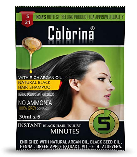 Colorina Hair Color Shampoo (30 ml X 10 Sachet) Natural Black | No Skin Stain, No Ammonia, No Parabens | Instant Black Hair in Just 5 Minutes | Enriched with Green Apple Extract, Vit-E & More
