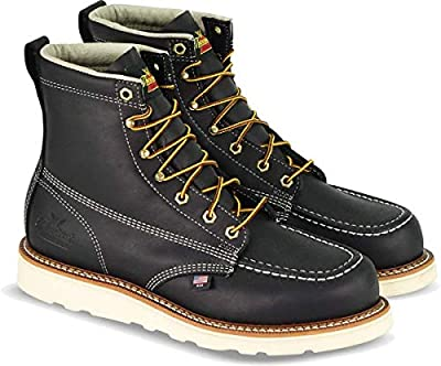 "Thorogood 804-6201 Men's American Heritage 6"" Moc Toe, MAXwear Wedge Safety Boot, Black - 12 2E US"