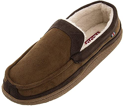IZOD Men's Two-Tone Moccasin Slipper, Warm Soft Classic Slip-On, Men's Sizes 8 to 13 (9.5-10.5, Tan Brown, numeric_9_point_5)