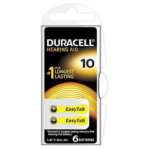 Duracell - 75053912 - Pile Auditive Easy Tab - 10 Jaune - Pack de 6