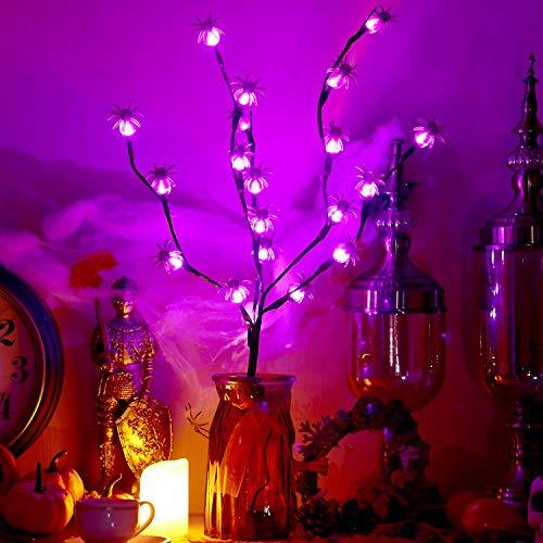 30 Zoll Halloween Baum Batteriebetrieben Braun Zweige LED Licht mit Lila Glühbirnen und 20 Stück Spinne Dekoration, Halloween Dekorative Licht für Halloween Outdoor Indoor Haus Party Dekoration