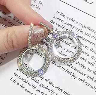 WTYD-AU Jewelry Necklace Rhinestone Crystal Earrings Round Earrings for Woman(Gold) (Color : Silver)