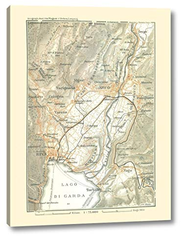 "Lake Garda Region Italy - Bertarelli 1914 by Bertarelli - 9"" x 12"" Canvas Art Print Gallery Wrapped - Ready to Hang"
