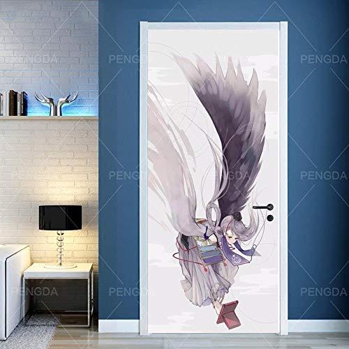 3D Deurfolie Deurfolie Sticker Op De Deur Zelfklevende Anime Meisje Voor Deuren Diy Canvas Print Art Foto Home Decor Muurschildering Garderobe Renovatie Decal-95X215Cm