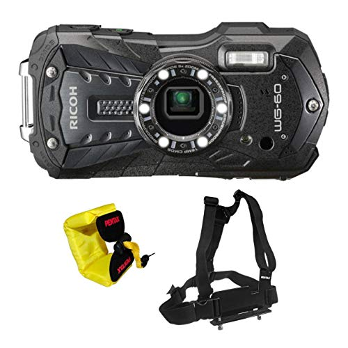 Ricoh WG-60 Waterproof Digital Camera, 2.7' LCD with Optio Floating Wrist Strap and Chest Harness (Black)