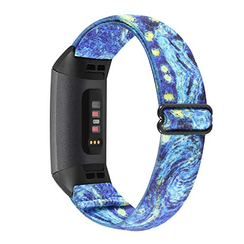 WONMILLE Elastic Bands Compatible with Fitbit Charge 4/Charge 3/SE, Stretchy Nylon Solo Loop Adjustable Wristband Sport Strap for Women Men (Starry Sky)