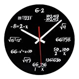 Timelike Math Clock, Unique Wall Clock Modern Design Novelty Maths Equation Clock - Each Hour Marked by a Simple Math Equation (Black)