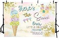 新しい夏のカラフルなアイスクリームをテーマにした写真スタジオの背景プリンセス3歳の誕生日パーティーゴールドドットバナー写真の背景画像7x5ft