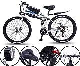 Bicicleta eléctrica de nieve, 26 pulgadas bicicleta eléctrica de 36V 350W Motor Nieve bicicleta eléctrica con MTB 21 Velocidad plegable Ebikes Hombres Mujeres Damas / Conmuten Ebike Batería de litio P