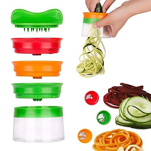 FENGLI Espiralizador de verduras de mano 3 en 1 calabacín Fabricante de espaguetis Zoodle Maker Veggie Spiralizer calabacín Fabricante de fideos, espiralizador en espiral