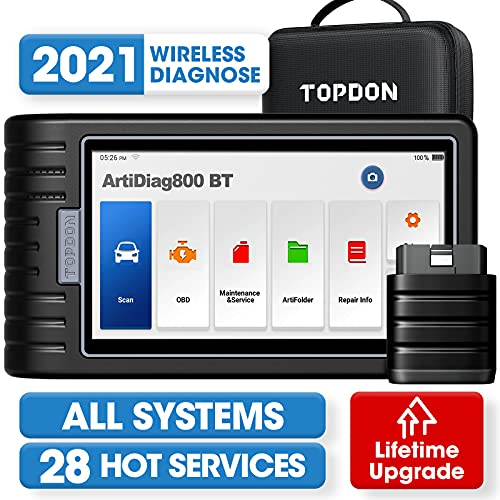 Wireless OBD2 Scanner, TOPDON ArtiDiag800BT Diagnostic Tool with Free Lifetime Upgrade, All Systems Scan, 28 Maintenance Services, ENG/ABS/SRS/Transmission/EPB/SAS/TPMS/Throttle/Oil Reset for DIFM