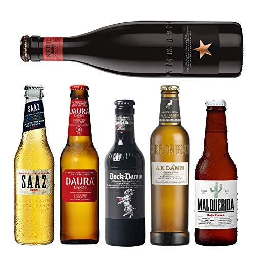 Pack de cervezas Damm - AK Damm, Malquerida cerveza, Damm Daura, Saaz, Inedit Damm, Bock Damm - Cervezas para coleccionar o degustar - Envio 24/48h