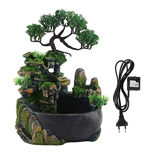 iFCOW Desktop Water Fountain with LED Colorful Lighting Zen Meditation Waterfall