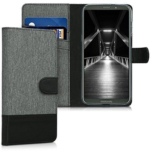 kwmobile Hülle kompatibel mit Motorola Moto Z3 Play - Kunstleder Wallet Hülle mit Kartenfächern Stand in Grau Schwarz
