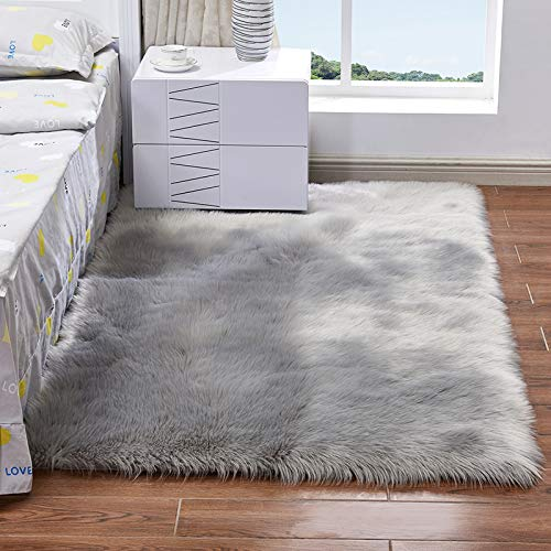 Fluffy Plush Sheepskin Area Throw Rug Faux Fur Luxury Design Chic Style Cozy Shaggy Rectangle Rug Floor Mat Area Rugs Home Decorator Super Soft Carpets Living Room Kids Play Rug, Grey 3x4 ft Diameter