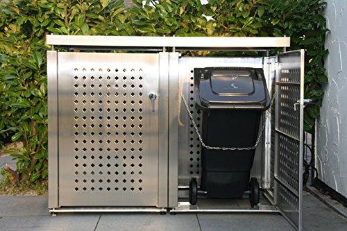 Mülltonnenbox Edelstahl für 2 Mülltonnen (240 l) - 3