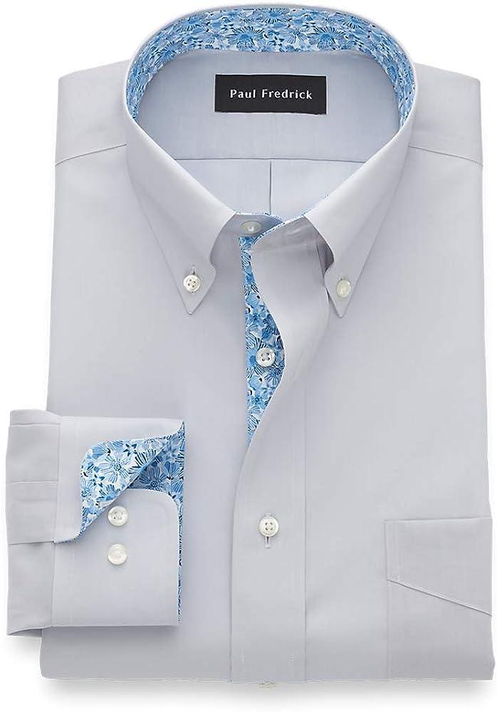 Paul Fredrick Men's Tailored Fit Non-Iron Cotton Solid Button Down Dress Shirt