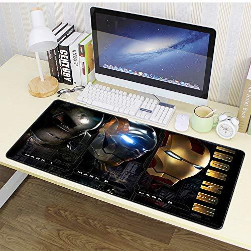 Alfombrilla de ratón para juegos de gran tamaño, alfombrilla de teclado industrial de Iron Man, base de goma antideslizante y fregar sentido de mano AA~ (color : B, tamaño: 80 x 30 x 0,4 cm)