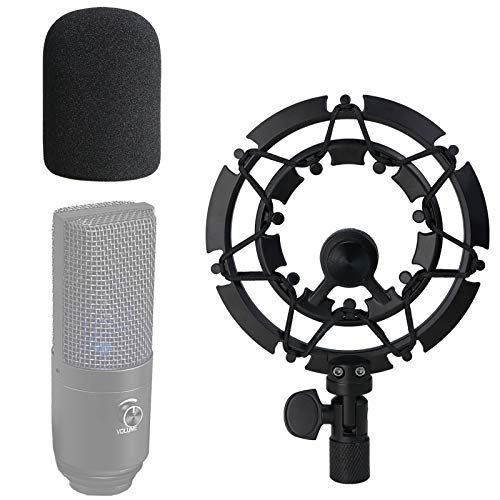 Shock Mount with Pop Filter Compatible with FIFINE K670 USB Podcast Microphone, k670 Shock Mount Reduces Vibration Noise Matching Mic Stand Boom Arm by SUNMON