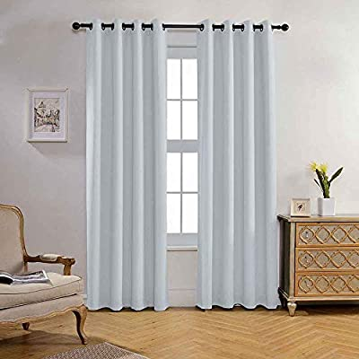 Miuco Blackout Curtains Textured Grommet  for Living Room