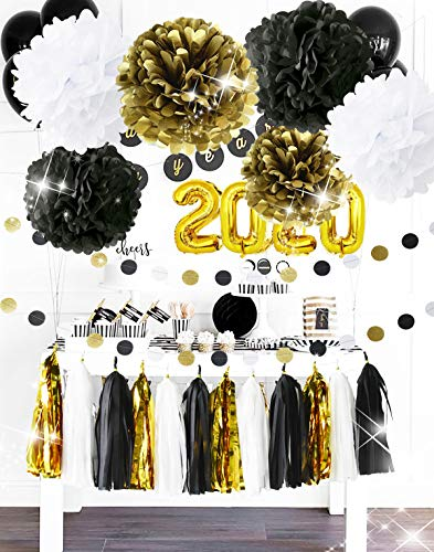 Graduation Decorations 2021 Black White Gold Paper Tassel Garland for Great Gatsby Decorations/Birthday Decorations/2021 Graduation Party