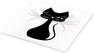 Ambesonne Halloween Cat Cutting Board, Monochromatic Graphic of Silhouette Style Illustrated Black Kitten Print, Decorative Tempered Glass Cutting and Serving Board, Small Size, Black and White