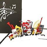 Pop Up Karte 'Orchester - Musikinstrumente' – 3D Geburtstagskarte, Einladungskarte & Geschenkgutschein Musik & Instrument – Glückwunschkarte, Geschenkverpackung & Einladung zum Konzert