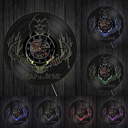 Arte de Pared de Esqueleto Reloj de Pared extraño Cosechando Huesos Grim Reaper Horror Decoración de Halloween Muerte Skeleton Killer Disco de Vinilo Reloj de Pared