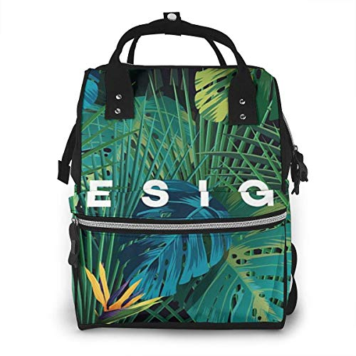 UUwant Sac à Dos à Couches pour Maman Bright Tropical Jungle Plants Diaper Bags Large Capacity Diaper Backpack Travel Nappy Bags Mummy Backpackling