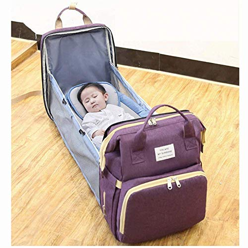 Portable Foldable Crib Diaper Bag Backpack, Travel Bassinet Waterproof Foldable Baby Bed, with Changing Station for Travel Bed Diaper Pad Stroller Organizer (Purple)