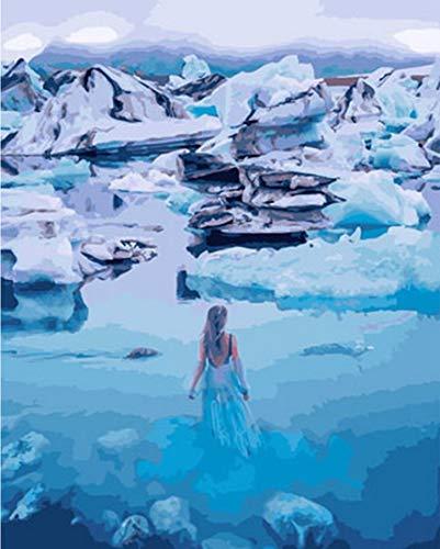 tytlwall Diy Digitale Schilderij Kits,Iceberg Smelting Olie Schilderen Door cijfers,Handgeschilderd Op Canvas Home Decor Wall Art Frame Gift(40X50Cm)