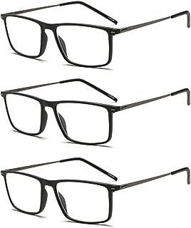 Suertree Reading Glasses 3 Pack Ultralight Computer Glasses Women Men Slim Readers Vintage Stainless Steel Frame Eyewear
