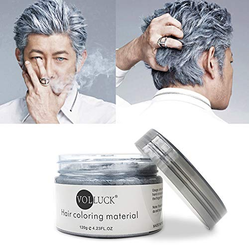 VOLLUCK Silver Grey Hair Wax Pomades 4.23 oz - Natural Hair Coloring Wax Material Disposable Hair Styling Clays Ash for Cosplay,Hallowee,Party