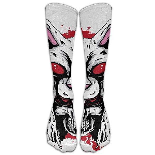 NavyLife - Calcetines deportivos hasta la rodilla con diseo de conejo asesino de primera calidad para hombre