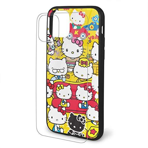 VOROY Carcasa para iPhone 11 de Hello-Kitty A-P-L-E, diseño de anime con múltiples formas de teléfono móvil de TPU personalizable, de cristal templado, para niños iPhone 11-6.1